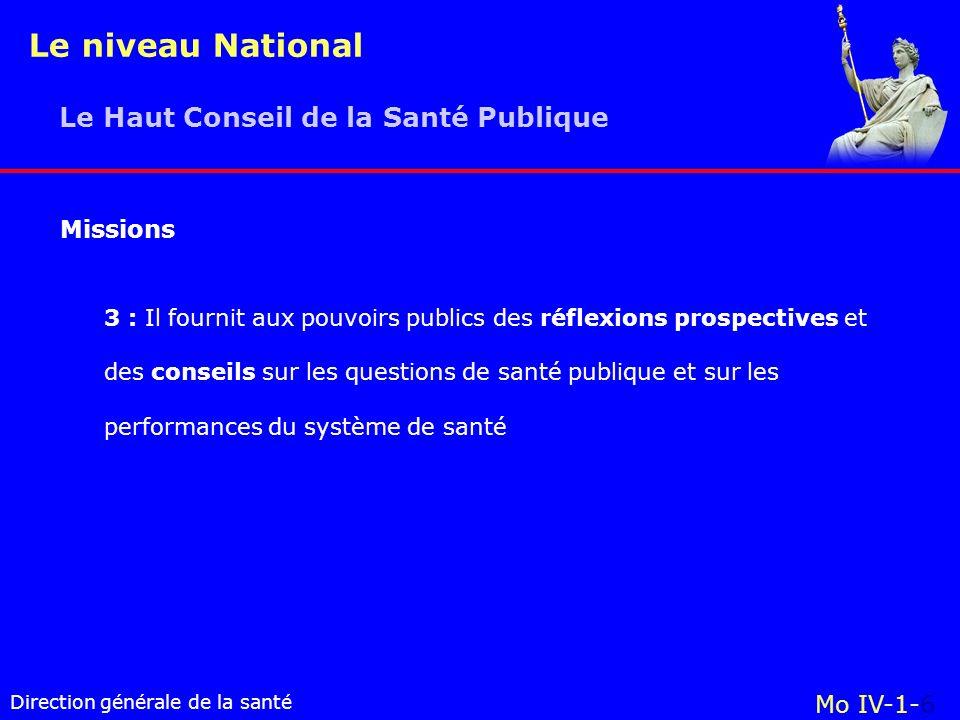 Le niveau National Le Haut Conseil de la Santé Publique Missions