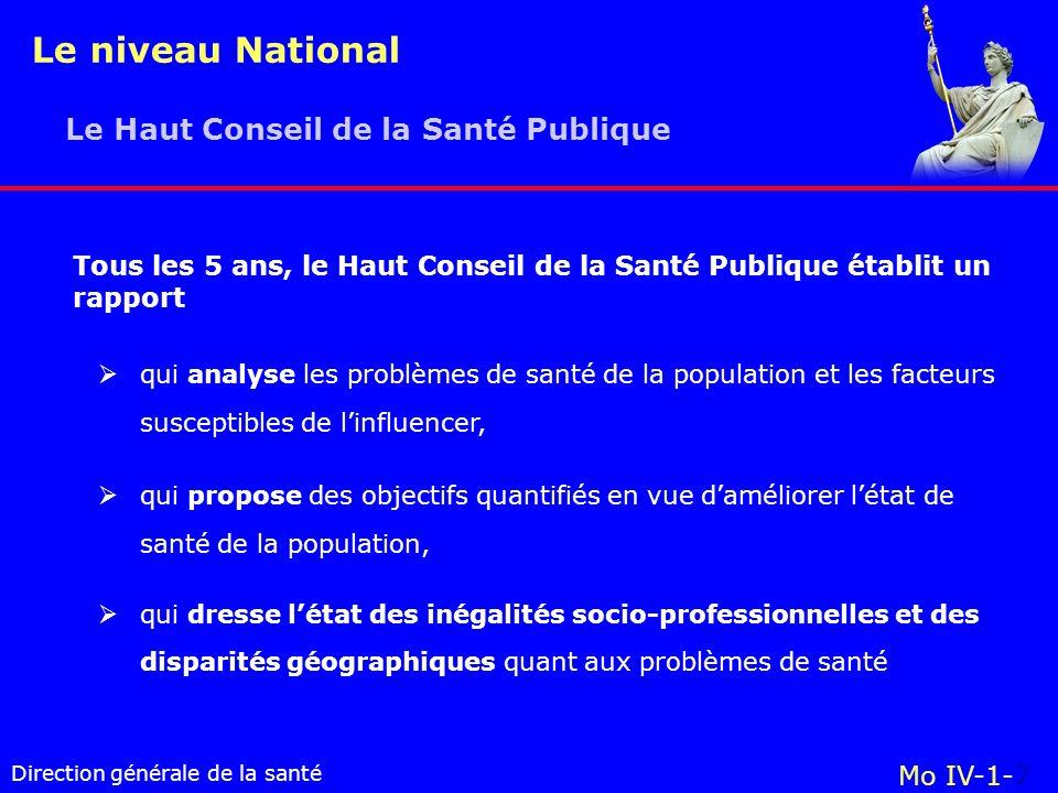 Le niveau National Le Haut Conseil de la Santé Publique