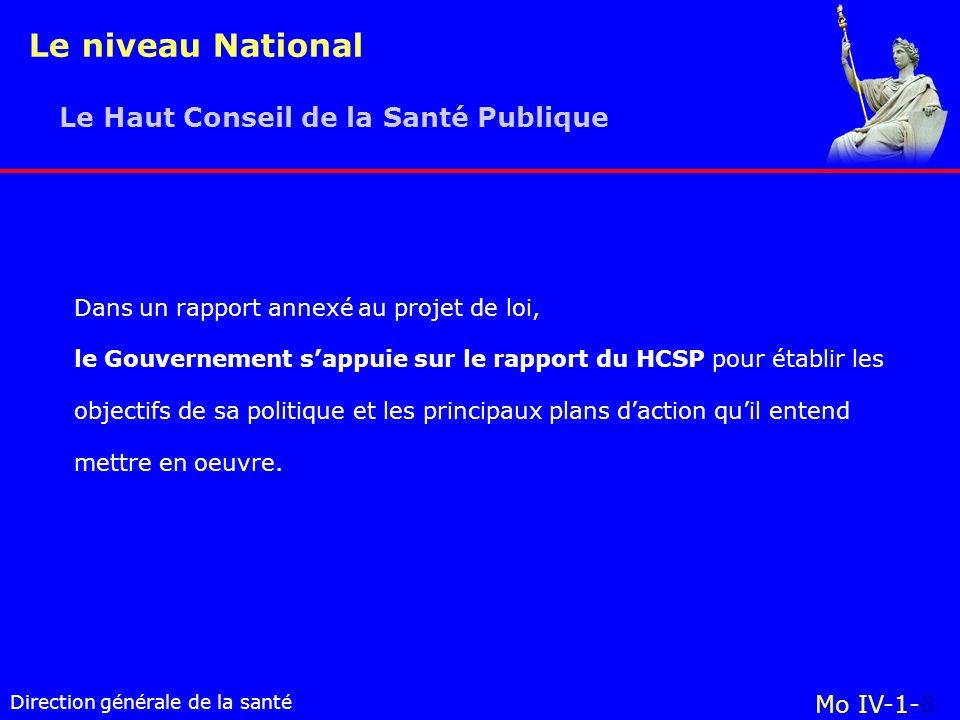 Le niveau National Le Haut Conseil de la Santé Publique Mo IV-1-8