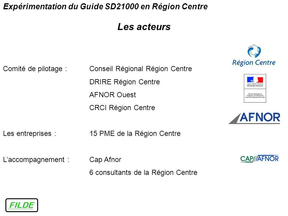 Les acteurs Expérimentation du Guide SD21000 en Région Centre FILDE