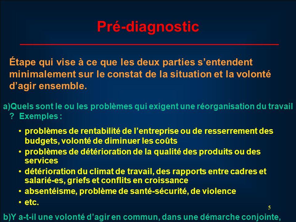 Pré-diagnostic Étape qui vise à ce que les deux parties s'entendent minimalement sur le constat de la situation et la volonté d'agir ensemble.
