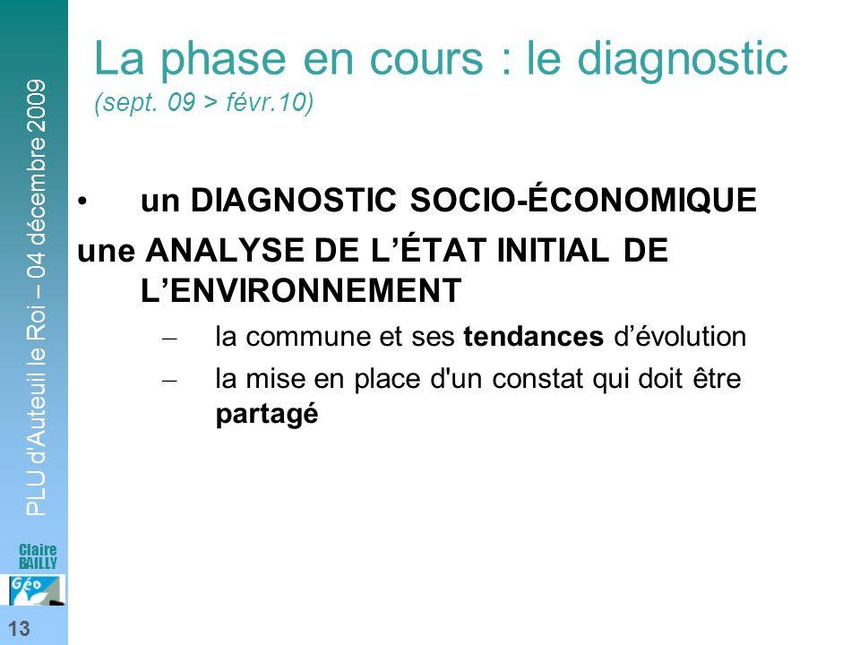 La phase en cours : le diagnostic (sept. 09 > févr.10)