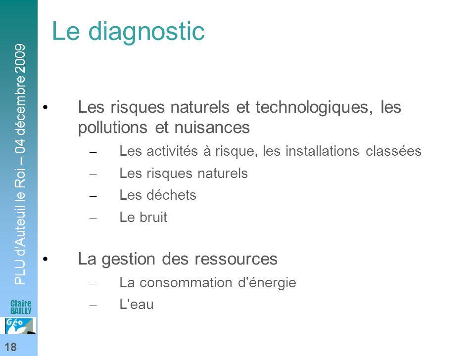 Le diagnosticLes risques naturels et technologiques, les pollutions et nuisances. Les activités à risque, les installations classées.