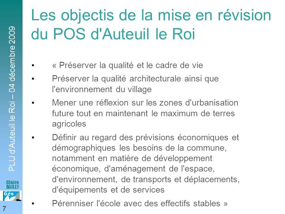 Les objectis de la mise en révision du POS d Auteuil le Roi