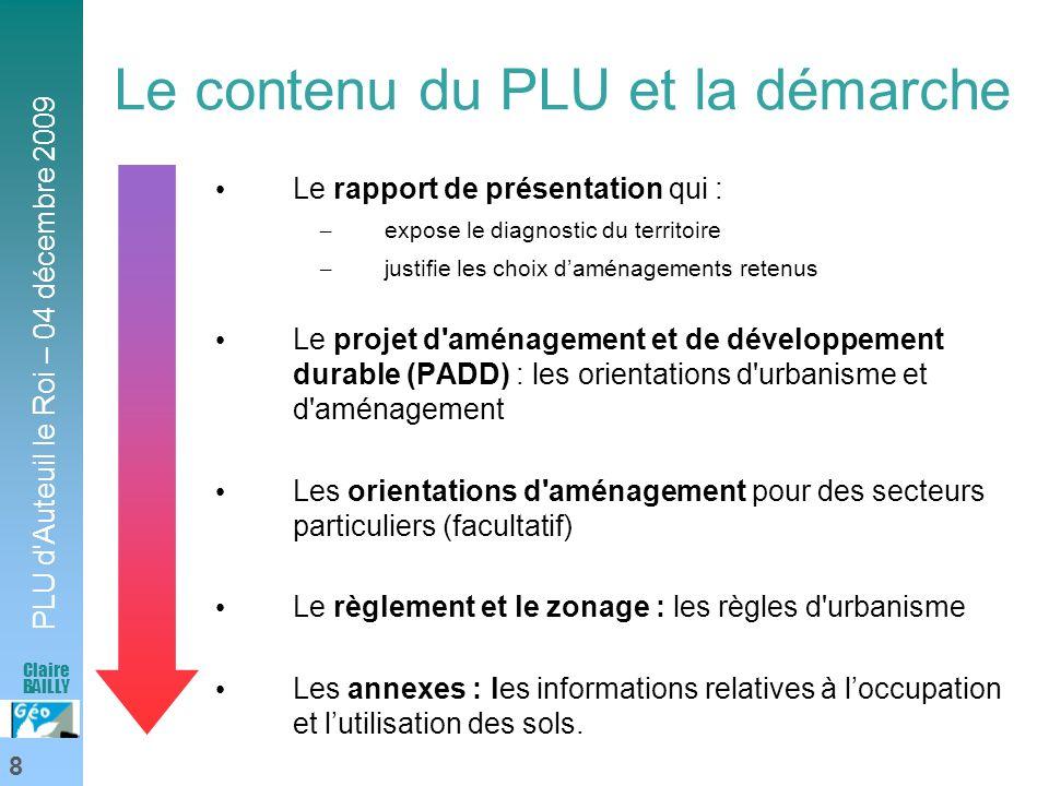 Le contenu du PLU et la démarche