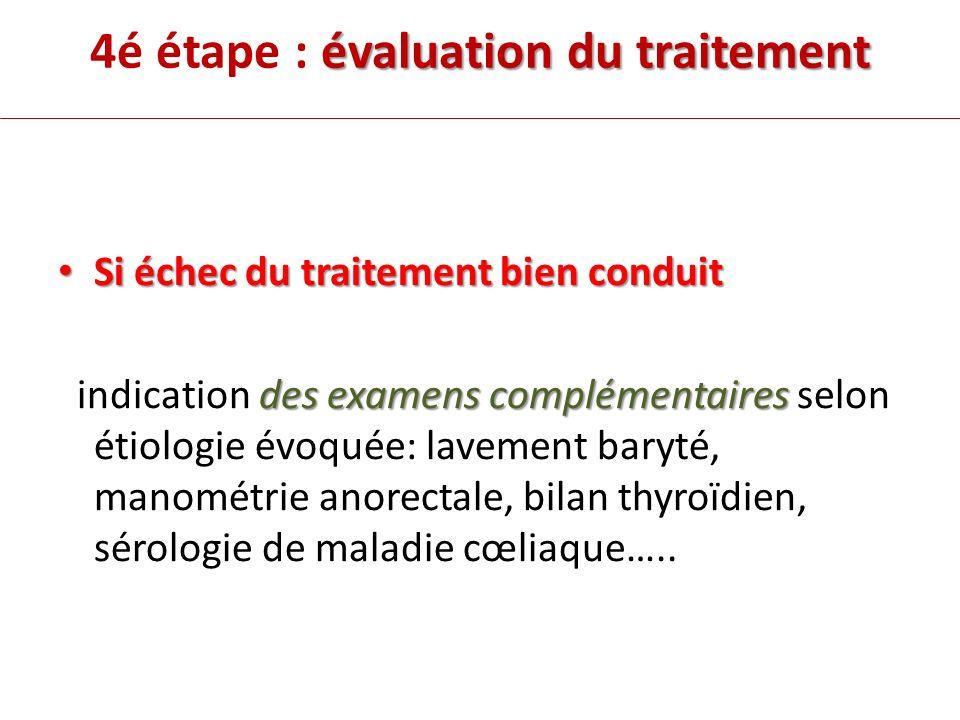 4é étape : évaluation du traitement