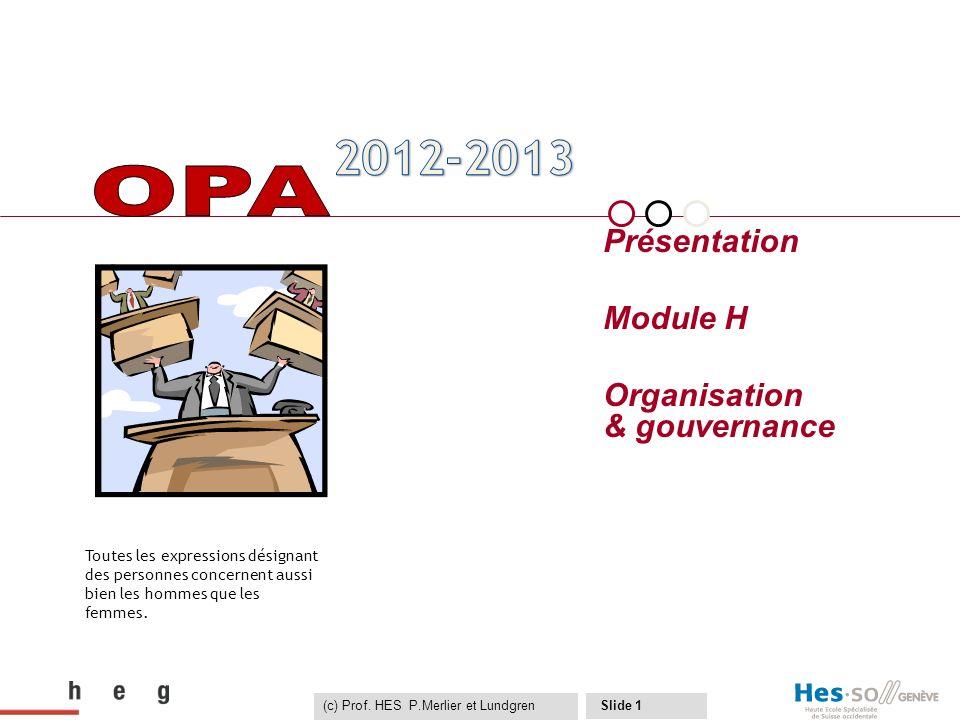 majeure OPA Présentation Module H Organisation & gouvernance