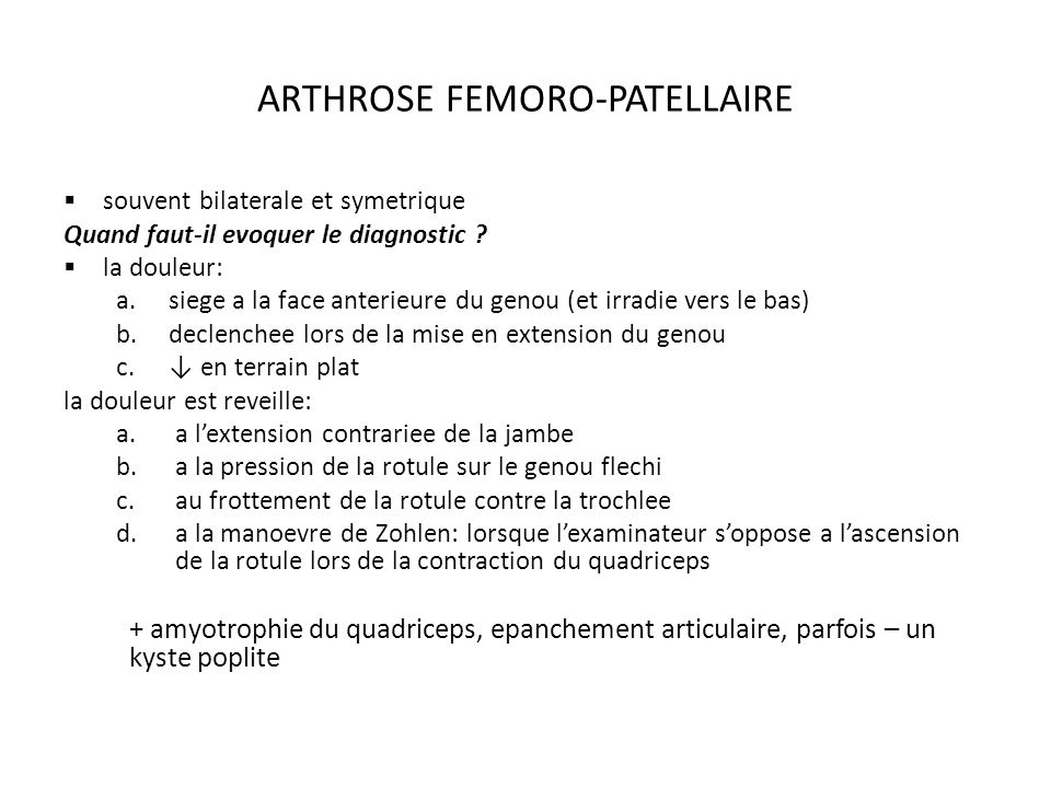 ARTHROSE FEMORO-PATELLAIRE
