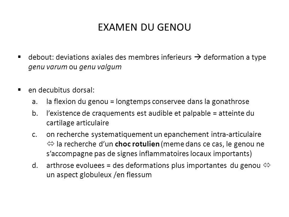 EXAMEN DU GENOU debout: deviations axiales des membres inferieurs  deformation a type genu varum ou genu valgum.