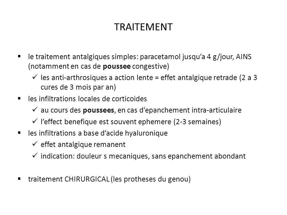 TRAITEMENT le traitement antalgiques simples: paracetamol jusqu'a 4 g/jour, AINS (notamment en cas de poussee congestive)