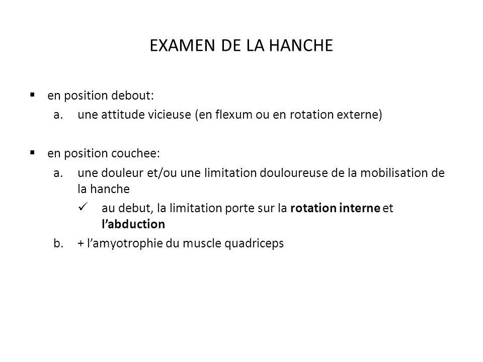 EXAMEN DE LA HANCHE en position debout: