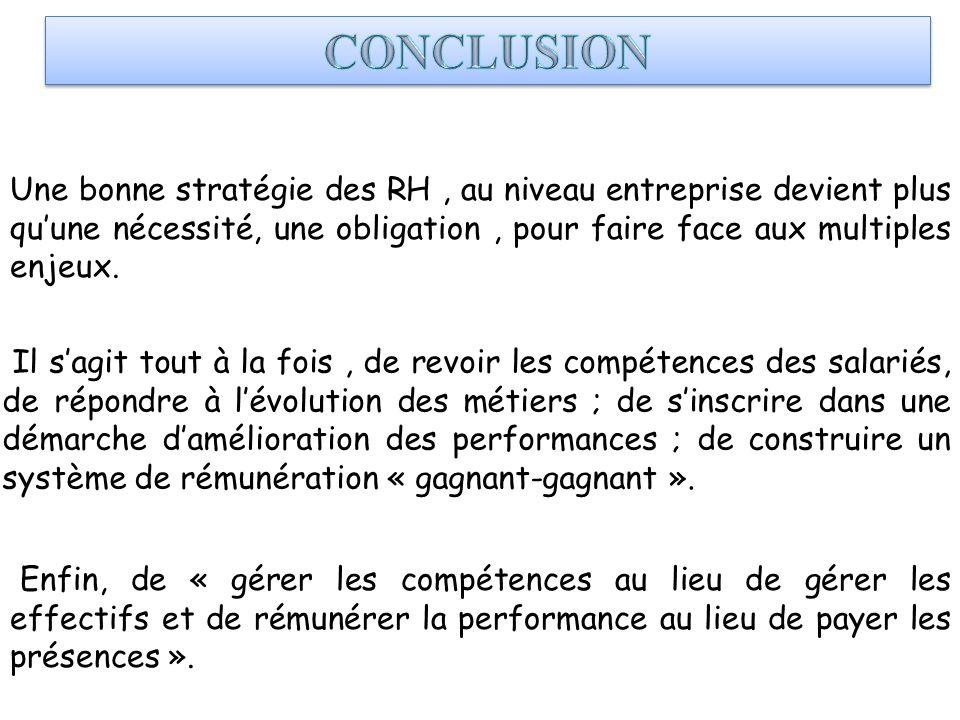 CONCLUSION Une bonne stratégie des RH , au niveau entreprise devient plus qu'une nécessité, une obligation , pour faire face aux multiples enjeux.