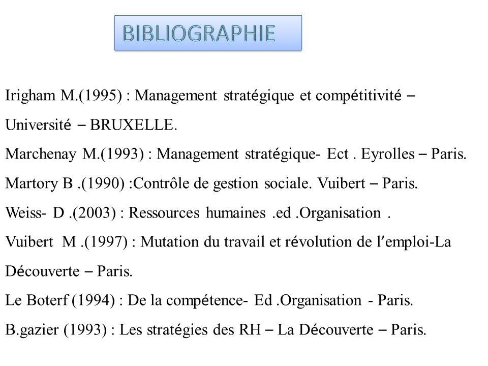 BIBLIOGRAPHIE Irigham M.(1995) : Management stratégique et compétitivité – Université – BRUXELLE.