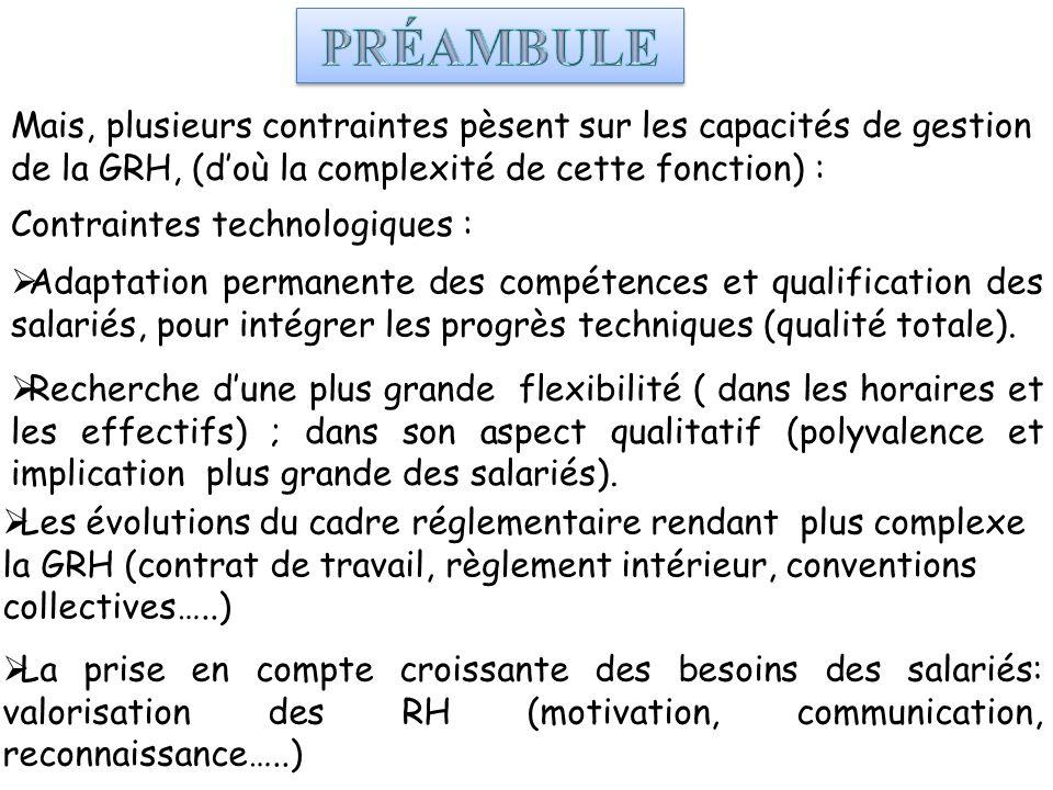 PRÉAMBULE Mais, plusieurs contraintes pèsent sur les capacités de gestion de la GRH, (d'où la complexité de cette fonction) :