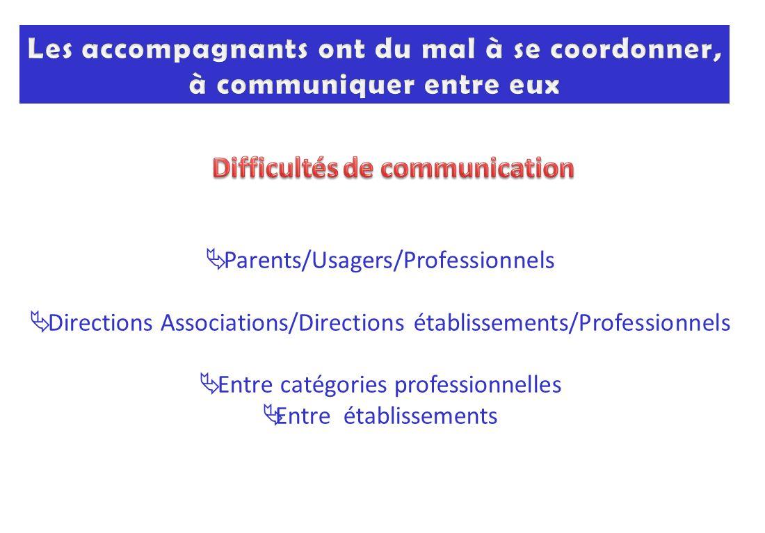 Les accompagnants ont du mal à se coordonner, à communiquer entre eux
