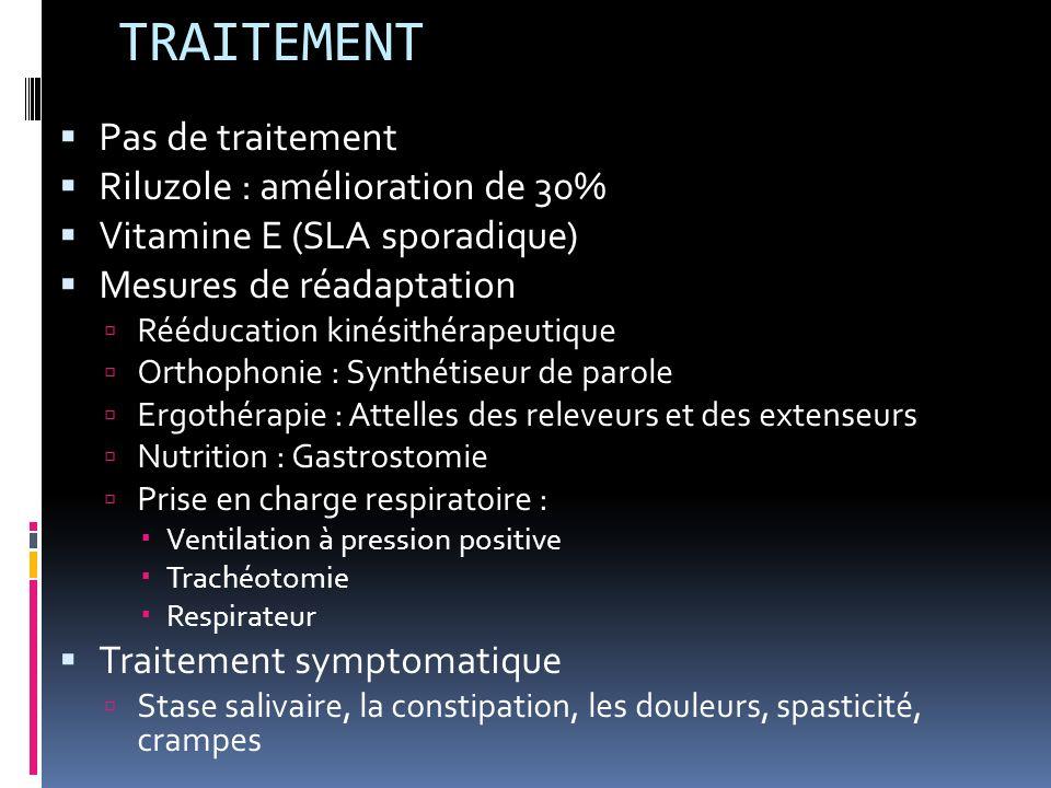 TRAITEMENT Pas de traitement Riluzole : amélioration de 30%