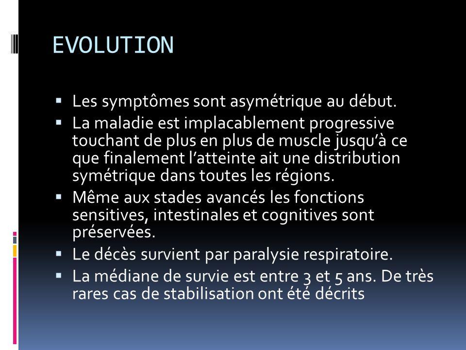 EVOLUTION Les symptômes sont asymétrique au début.