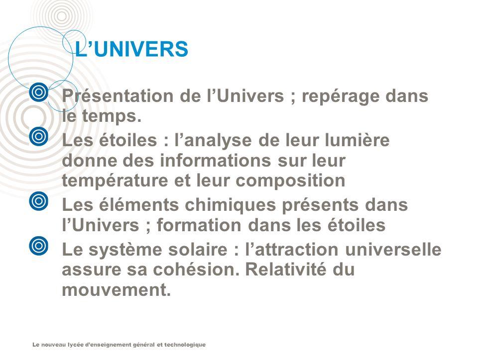 L'UNIVERS Présentation de l'Univers ; repérage dans le temps.