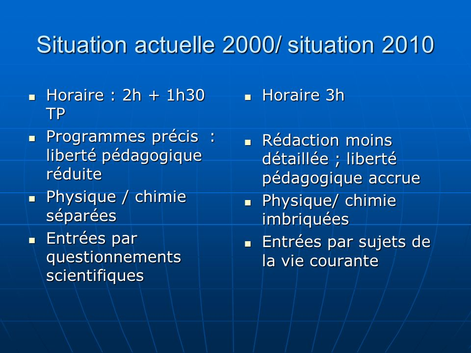 Situation actuelle 2000/ situation 2010