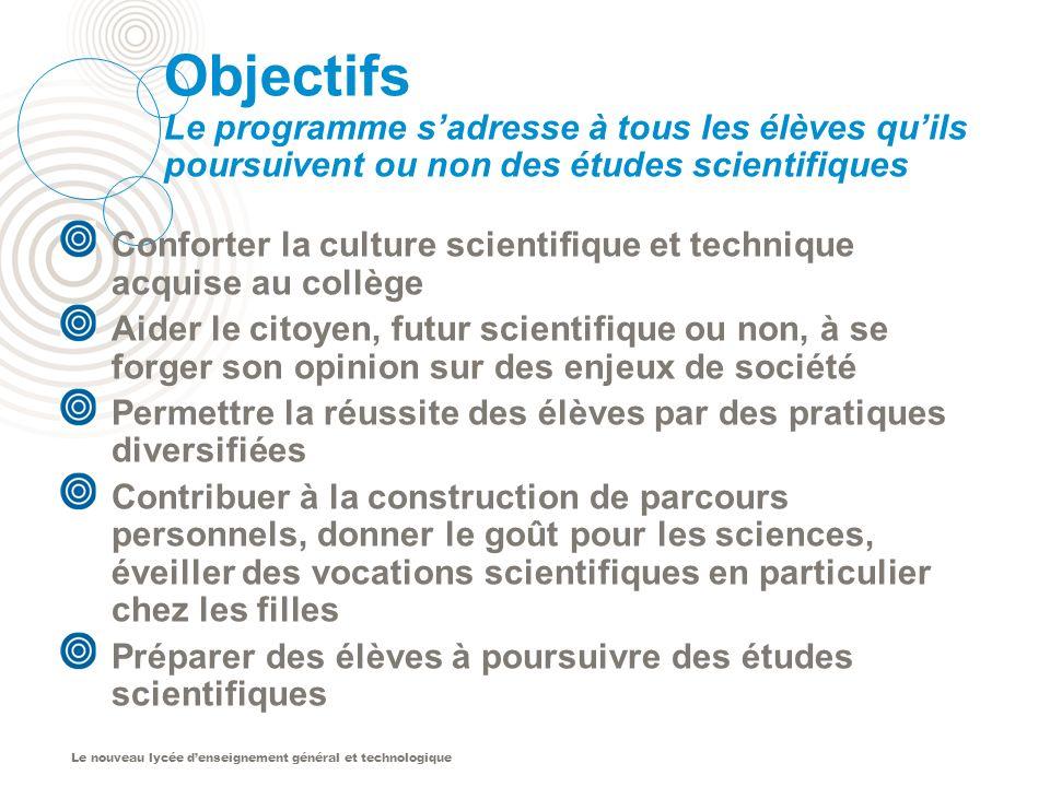 Objectifs Le programme s'adresse à tous les élèves qu'ils poursuivent ou non des études scientifiques