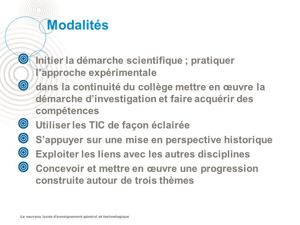 Modalités Initier la démarche scientifique ; pratiquer l'approche expérimentale.