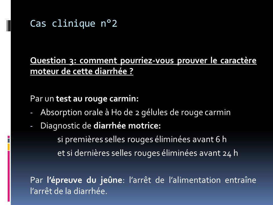 Cas clinique n°2 Question 3: comment pourriez-vous prouver le caractère moteur de cette diarrhée