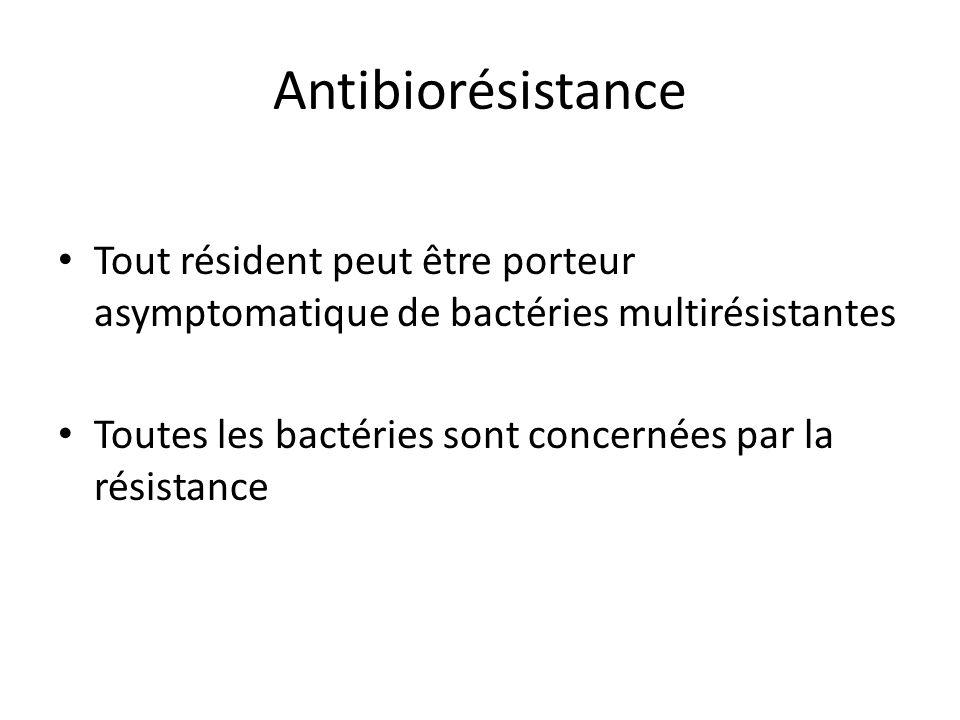 Antibiorésistance Tout résident peut être porteur asymptomatique de bactéries multirésistantes.