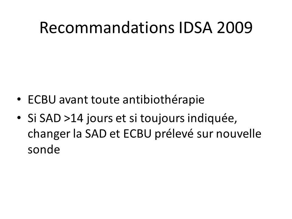Recommandations IDSA 2009 ECBU avant toute antibiothérapie