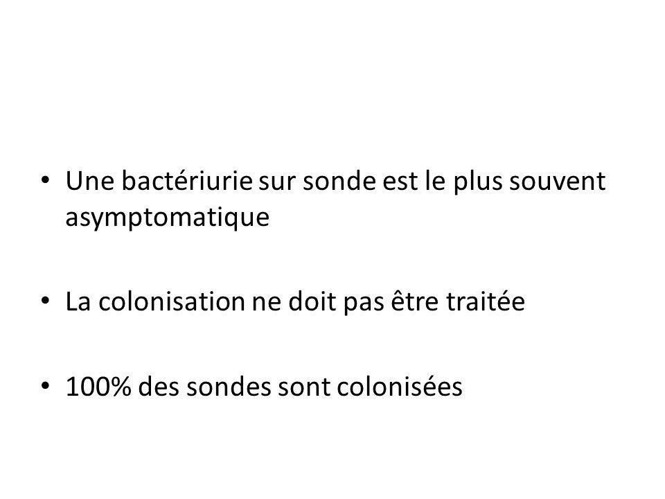 Une bactériurie sur sonde est le plus souvent asymptomatique