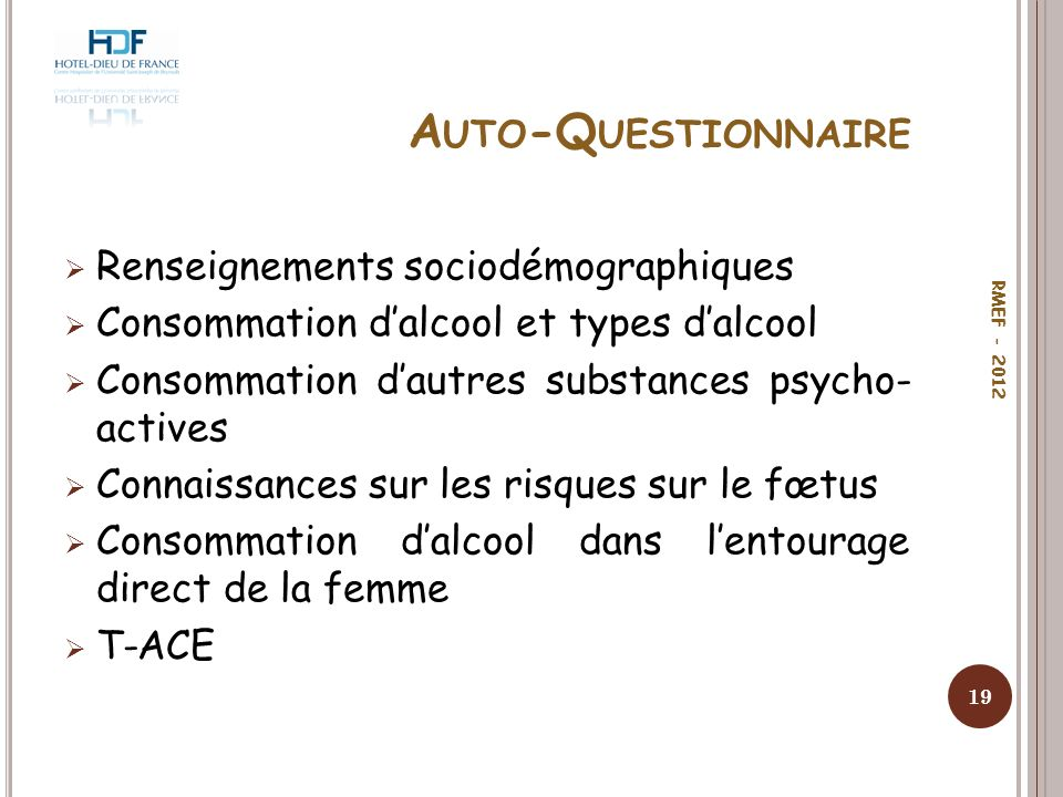 Auto-Questionnaire Renseignements sociodémographiques