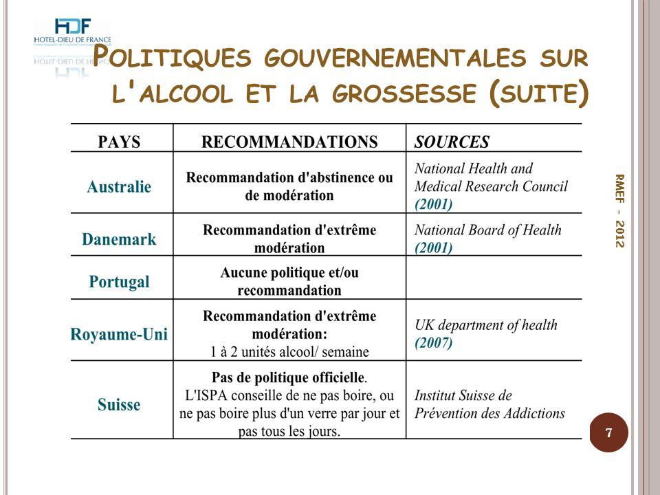 Politiques gouvernementales sur l alcool et la grossesse (suite)