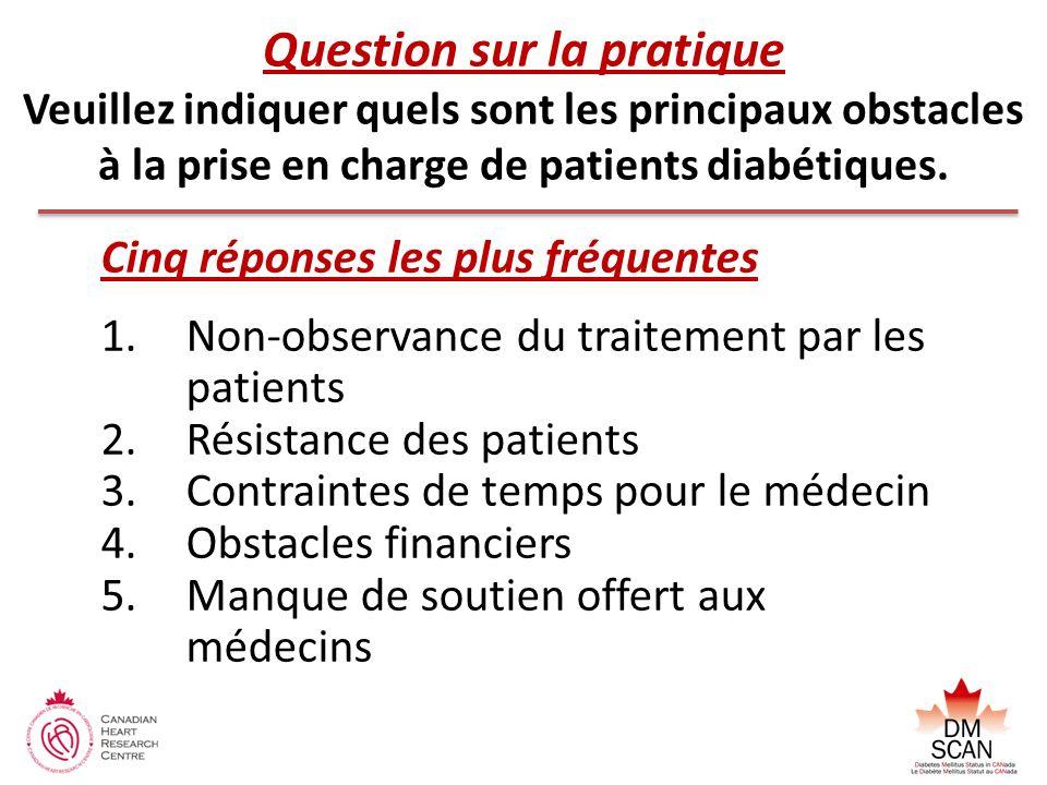 Question sur la pratique Veuillez indiquer quels sont les principaux obstacles à la prise en charge de patients diabétiques.