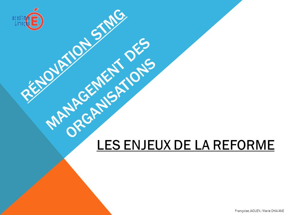 Rénovation STMG management des organisations