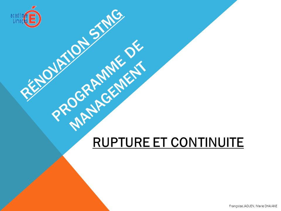 Rénovation STMG programme de management
