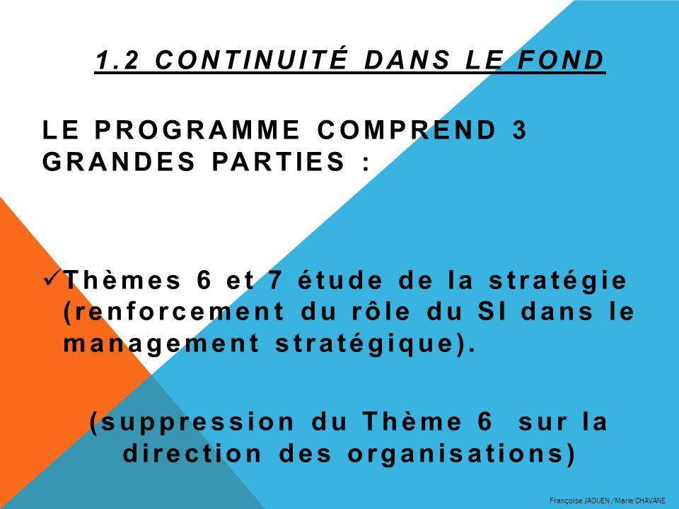 1.2 Continuité dans le fond Le programme comprend 3 grandes parties :