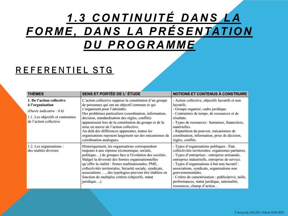 1.3 Continuité dans la forme, dans la présentation du programme