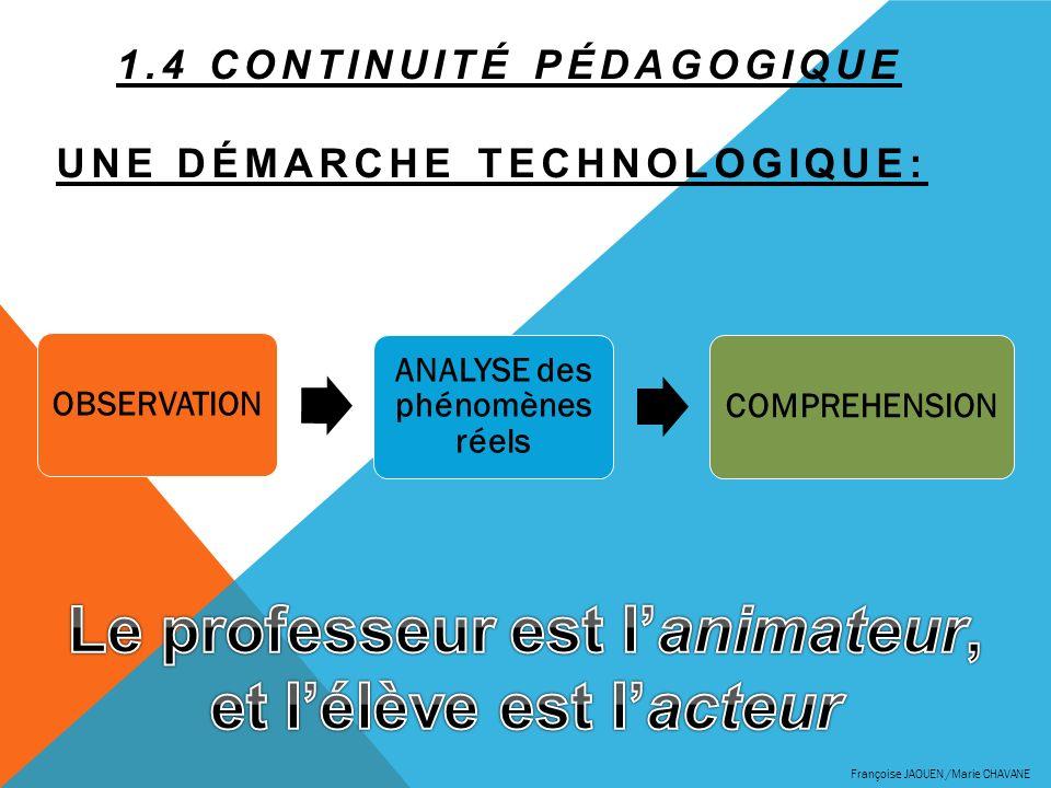 1.4 Continuité pédagogique Une démarche technologique: