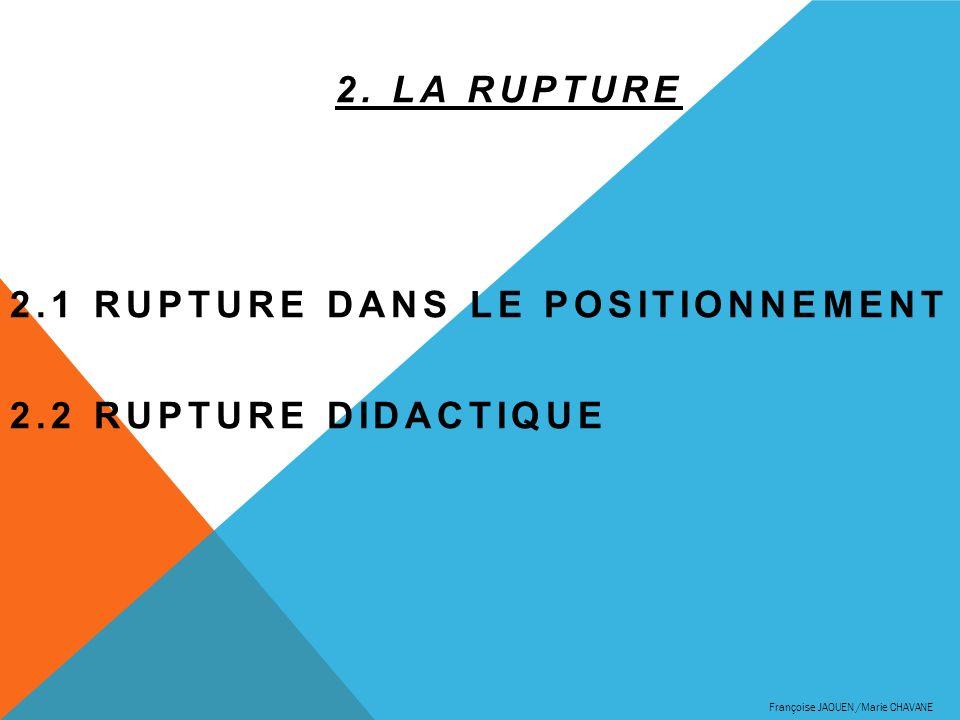 2.1 Rupture dans le positionnement 2.2 Rupture didactique