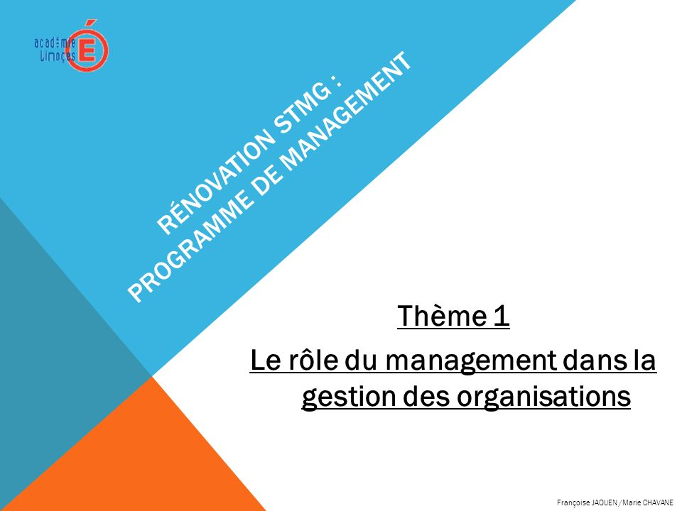 Rénovation STMG : programme de management