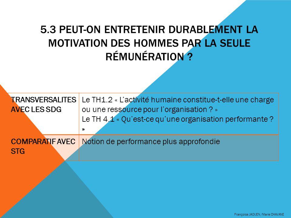 5.3 Peut-on entretenir durablement la motivation des hommes par la seule rémunération