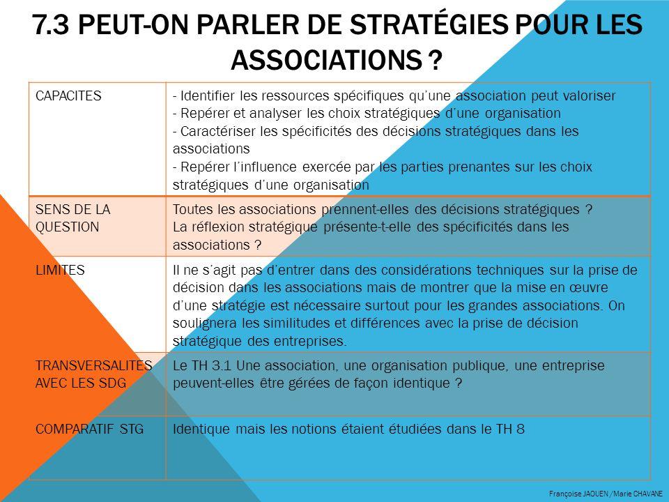 7.3 Peut-on parler de stratégies pour les associations