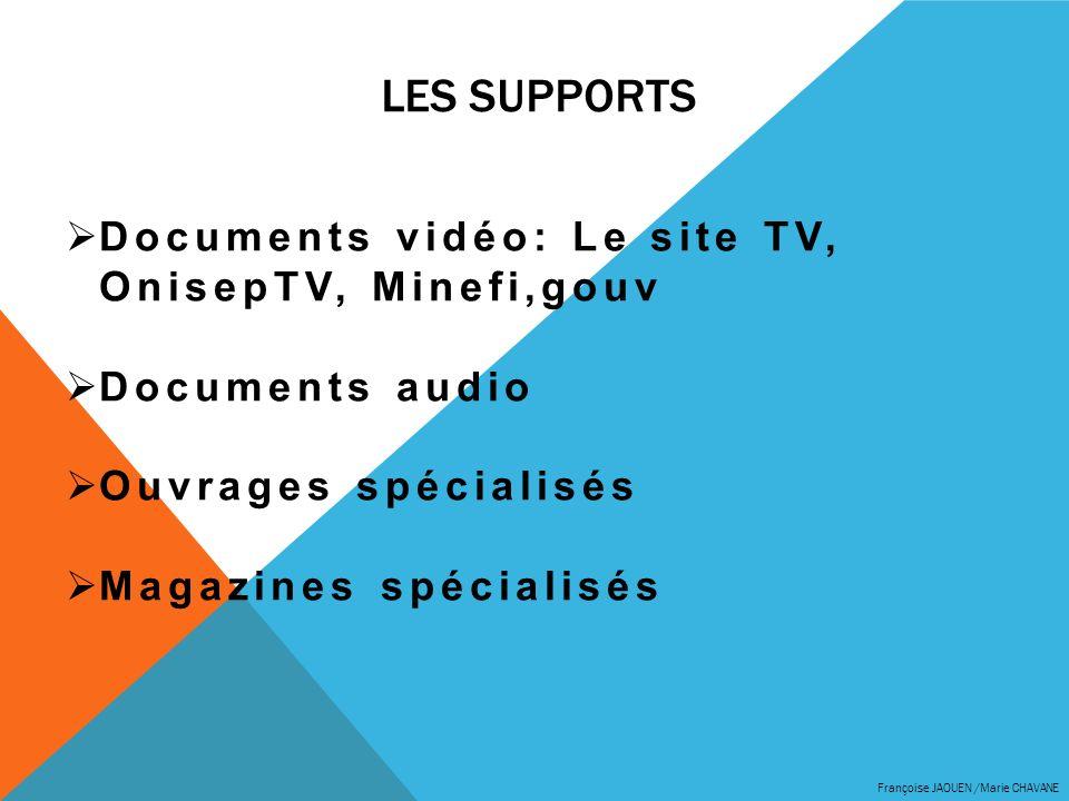 LES supports Documents vidéo: Le site TV, OnisepTV, Minefi,gouv