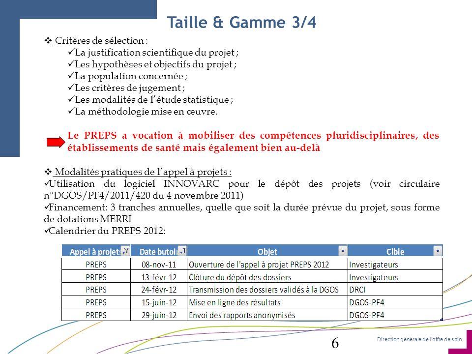 Taille & Gamme 3/4 Critères de sélection : La justification scientifique du projet ; Les hypothèses et objectifs du projet ;