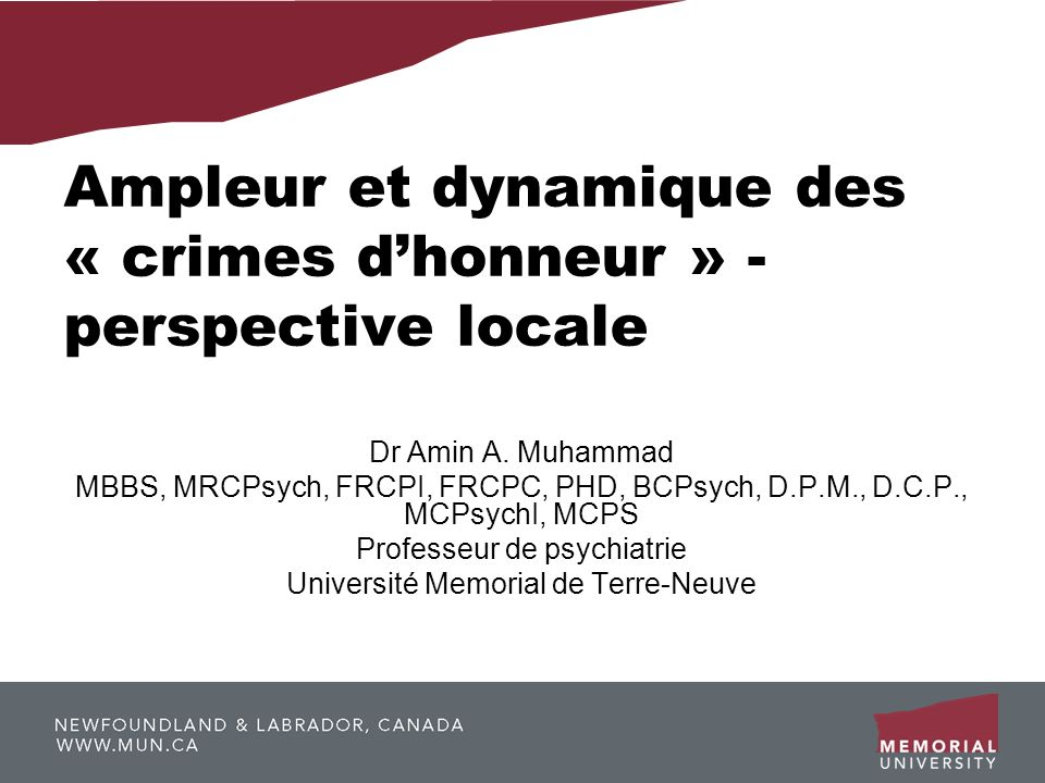 Ampleur et dynamique des « crimes d'honneur » - perspective locale