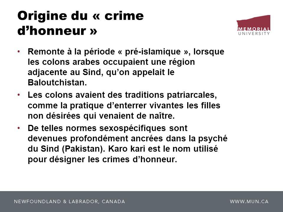 Origine du « crime d'honneur »