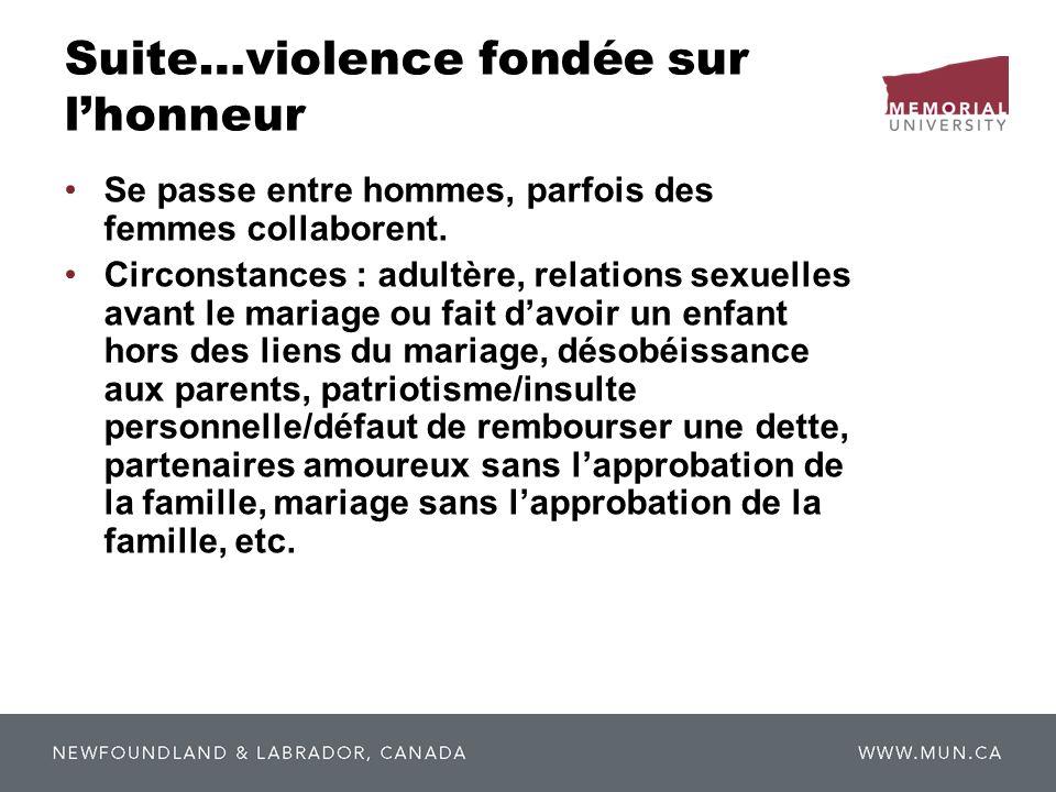 Suite…violence fondée sur l'honneur