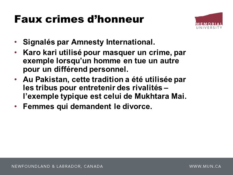 Faux crimes d'honneur Signalés par Amnesty International.
