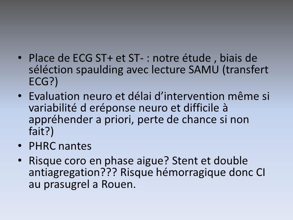 Place de ECG ST+ et ST- : notre étude , biais de séléction spaulding avec lecture SAMU (transfert ECG )