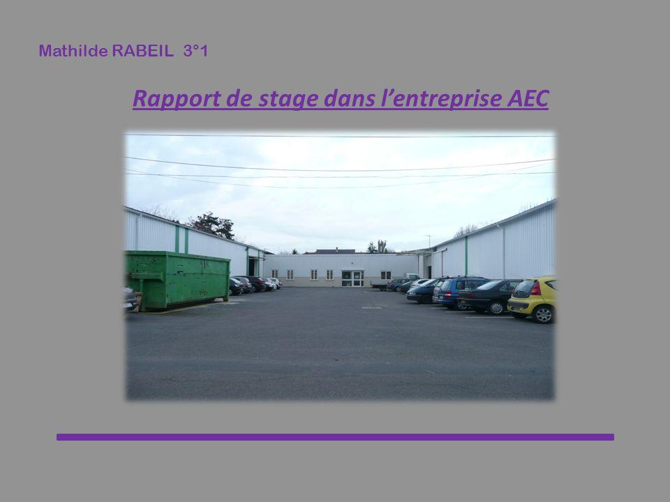 Rapport de stage dans l'entreprise AEC