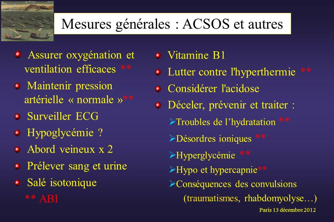 Mesures générales : ACSOS et autres